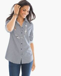 Chicos-3-Size-XL-Top-Effortless-Horizontal-Stripe-Black-White-Button-Down-Shirt