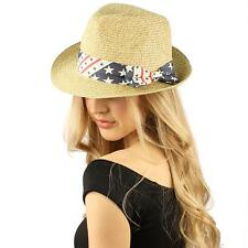 USA Flag Colors Hatband Patriotic Fedora Trilby Derby Beach Pool Sun Hat Natural