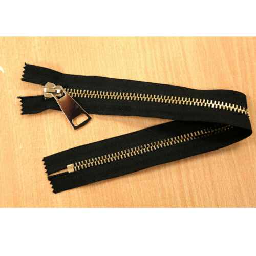 CLOSED END JOB LOT BLACK GOLD METAL ZIPS 14 INCHES 35 CMS VARIOUS QUANTITY PACKS