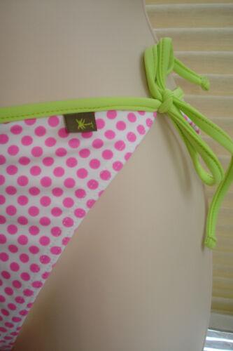 Fat Face Dotty Bikini Bottoms Side Tie White with Pink Spots Size 18 BNWT