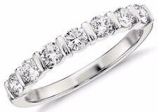 Diamond Wedding Band Ring 0.60 Ct Round Cut 14K White Gold 7 stone Anniversary