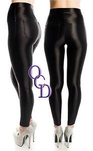 56b31a2f15d Style Américain Noir Brillant Taille Haute Élastique Pantalon Disco ...