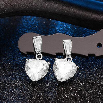 Elegant Silver Plated Ear Stud Love Heart Shape Dangle Earrings for Women