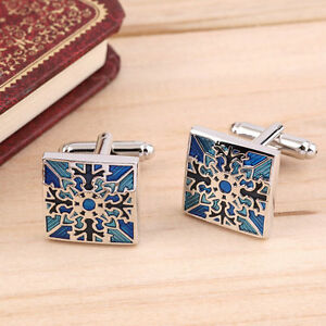 1 Pair Classic Mens Wedding Party Gift Shirt Square Blue Cufflinks Cuff Links BE