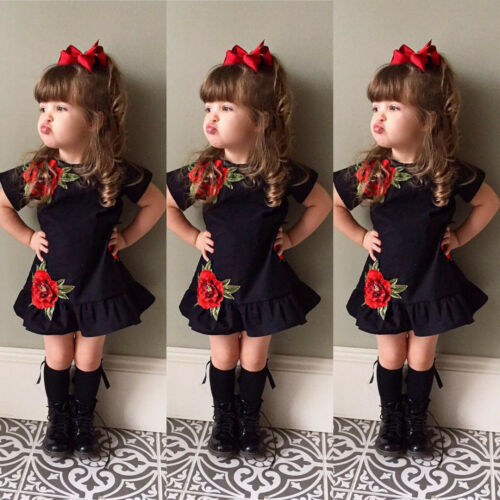 Toddler Kids Baby Girl 3D Flower Summer Party Pageant Dress Sundress Clothes KW