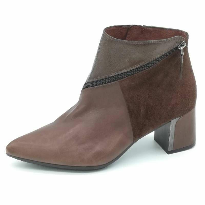 Hispanitas Womens Ankle Boots Booties Brown Block Heel Gel Cushion US 5 EU 36