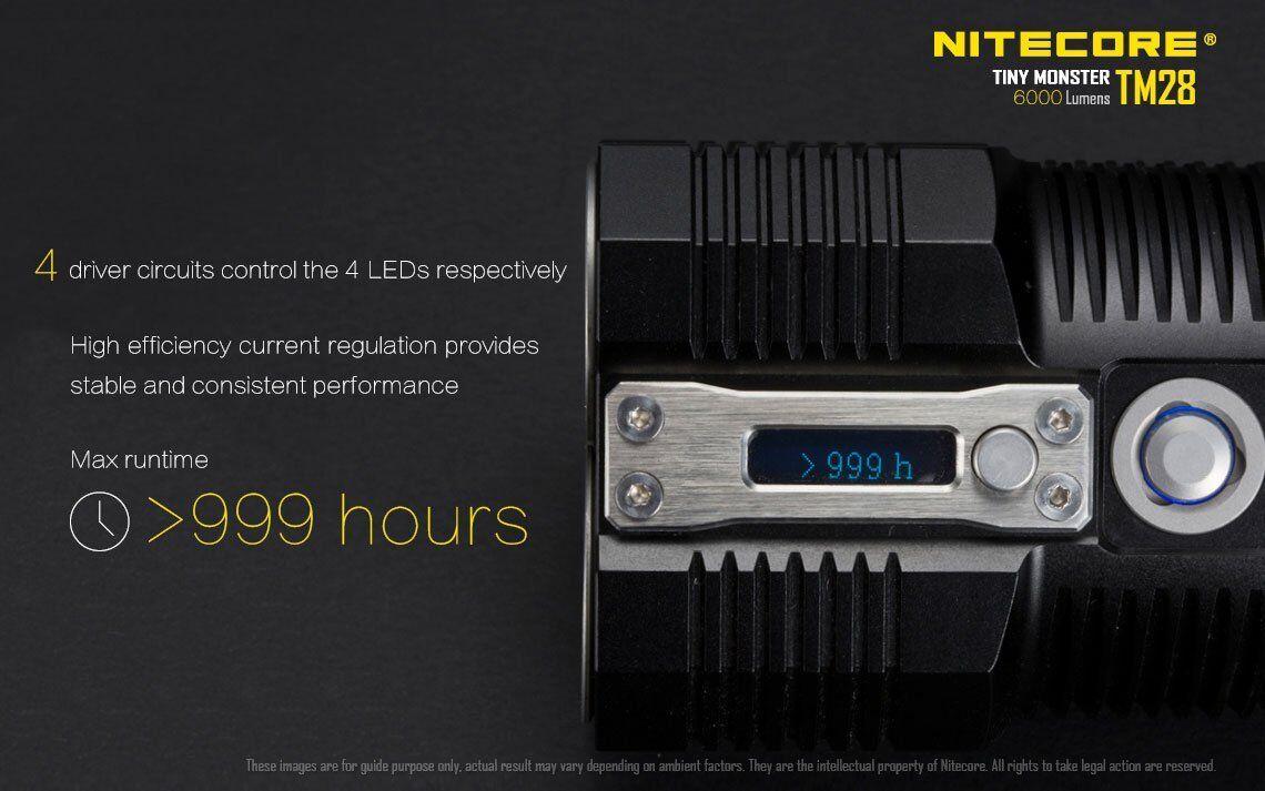 Bundle    Nitecore TM28 6000Lm Rechargeable Flashlight w4x 3500mAh Batteries cb9668