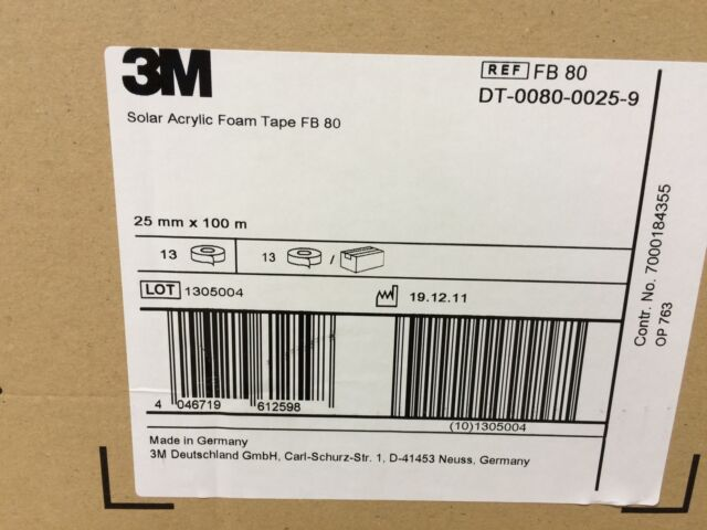 """""""SAMPLE"""" 3M FB 80 double sided Solar acrylic foam Tape 1"""" X 6"""" SAMPLE ONLY"""