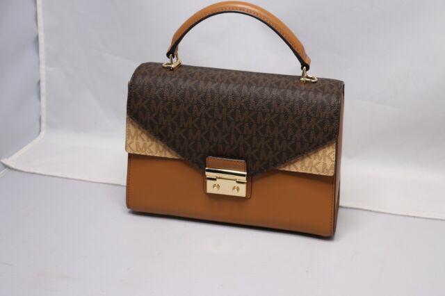 92daf9225e Michael Kors Sloan Top Handle Signature Logo Medium Satchel Handbag Purse