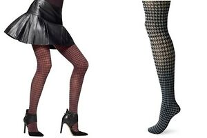 3811bfed6aca6 Hue Women's Tights Houndstooth Tights Control Top Claret / Thunder S ...