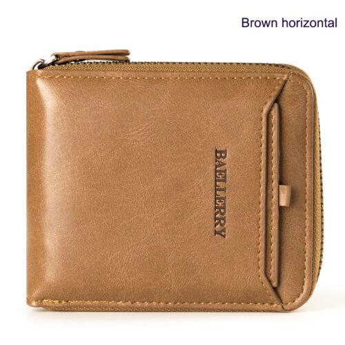 Men/'s Leather Business Wallet avec des pièces Pocket Zipper Sac à main nouveau