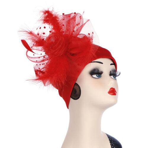 Fashion femmes musulmanes Fleur Maille Plume Chapeau Serre-tête coiffure turban Cap Wrap