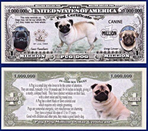 ITEM-U1 MONEY FAKE 25-Pug Dog Dollar Bills  Puppy-Collectible--Novelty