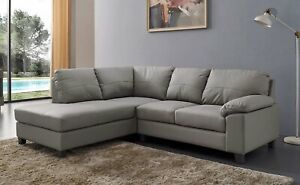 Details about Serenity New Modern Grey Real Leather Corner Sofa With Chaise  Grey Cheap Sale