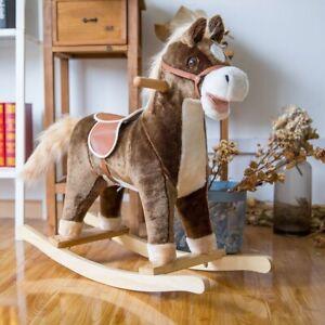 Kids Plush Rocking Horse Toy Ride On Pony Wooden Rocker w/ Realistic Sound Brown