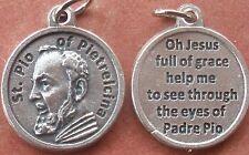 "Saint St. Padre Pio of Pietrelcina Medal Charm 3/4"" + Prayer to Jesus on back"