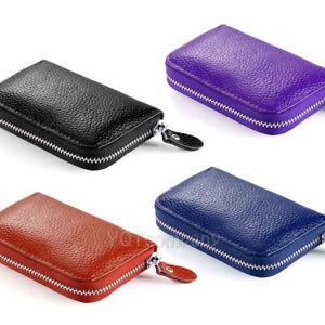 Zip Genuine Leather Credit Card Holder Organizer Travel Business