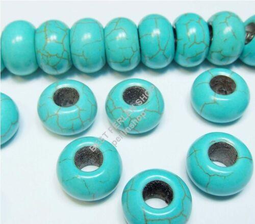 10 European turquesa piedra perlas elemento individual núcleo spacer Charms beads r152