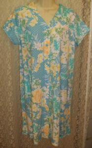 Large-L-Miss-Elaine-Short-Snap-Front-Robe-Short-Sleeve-Turquoise-Green-Yellow