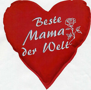 muttertag herzkissen beste mama der welt deko kissen 36 cm. Black Bedroom Furniture Sets. Home Design Ideas