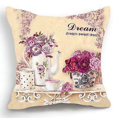 Retro Vintage White Vase Flower Home Decorative Pillow Case Cushion Cover 18''