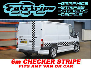 6m-Checker-Ford-Transit-St-Conectar-van-graficos-Stickers-Calcomanias-Rayas-LDV