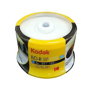 50-Pack Kodak 6X White Inkjet HUB Printable Blu-ray BluRay BD-R Blank Disc 25GB