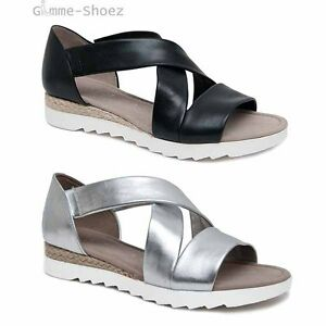 Details zu Gabor Comfort Riemchen Sandalen Jute silber und schwarz Leder 62.711 G NEU 2017