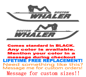 """PAIR OF 5/""""X28/"""" BOSTON WHALER BOAT HULL DECALS MARINE GRADE YOUR COLOR CHOICE 32."""