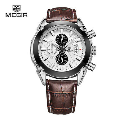 MEGIR 2020 Military Sports Chronograph Watch with Brown Leather Strap For Men