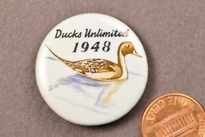 1948-Vintage-Ducks-Unlimited-Button-Pinback-Pin-Badge-Duck-Hunting-Sports-DU