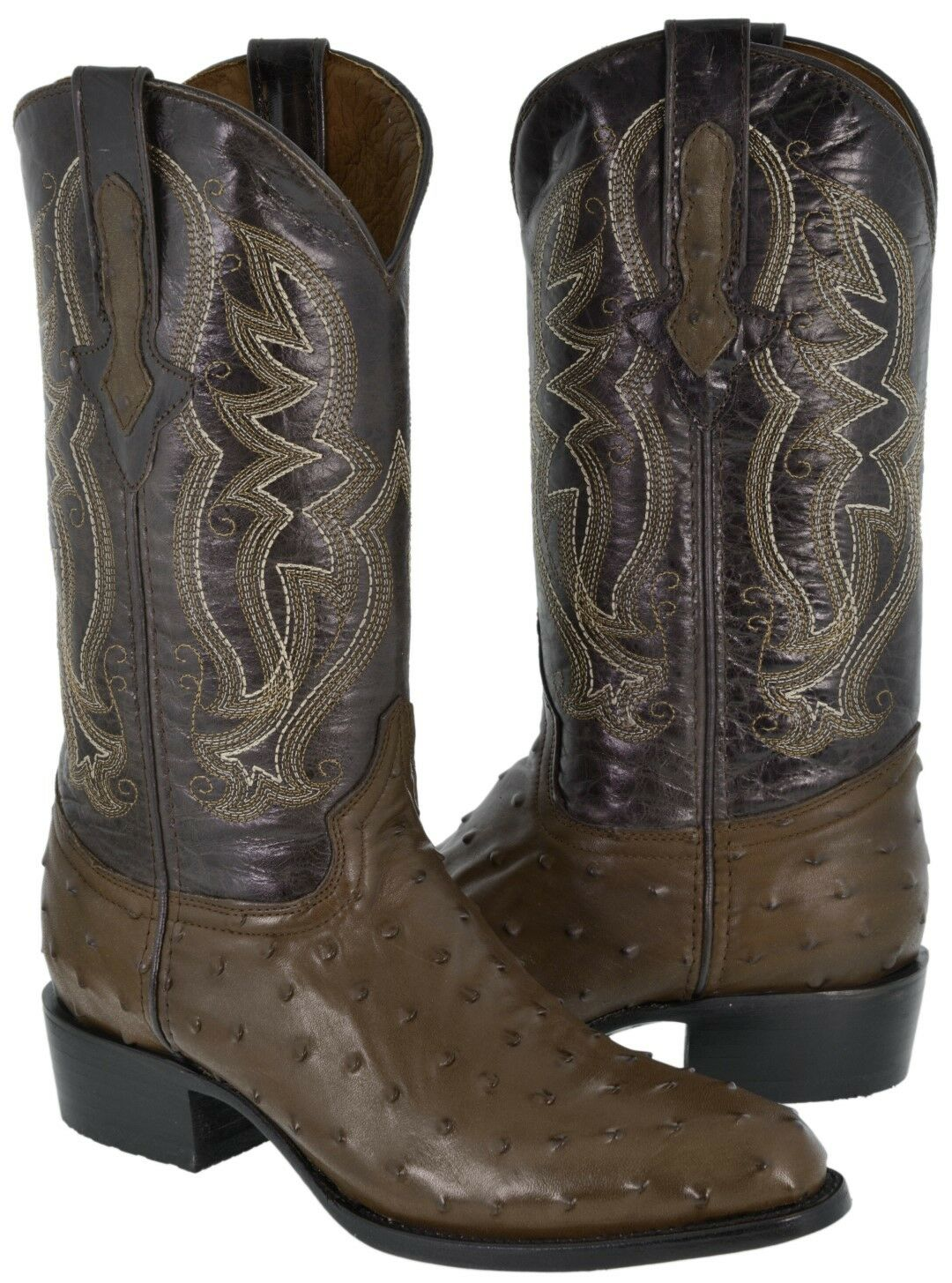 Mens braun Round Toe Ostrich Print Western Wear Leather Cowboy Stiefel