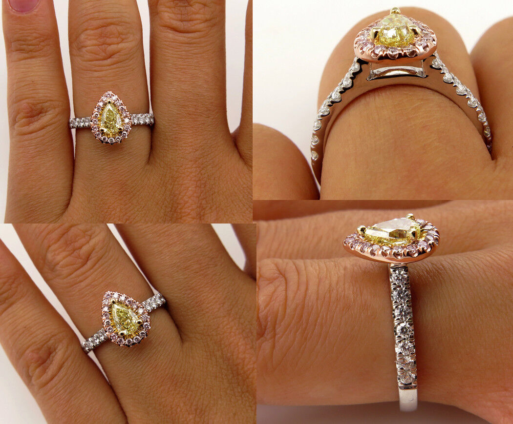 3Ct Pear Cut Yellow Sapphire Accent Halo Engagement Ring 14K Dual Tone gold Over