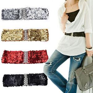 Bling-femmes-rivet-paillettes-elastique-extensible-ceinture-taille-large-Slim-BB
