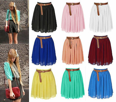 25 Colors Women Girl Chiffon Short Mini Dress Skirt Pleated Retro Elastic Waist