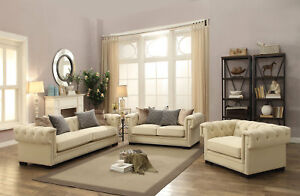 Image Is Loading New Creme Tufted Sofa In Sophisticated Cream White