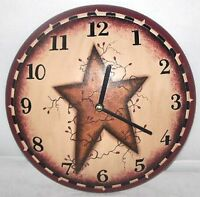 Primitive Country Rustic Lodge Cabin Berry Vine Star Wood Wall Clock
