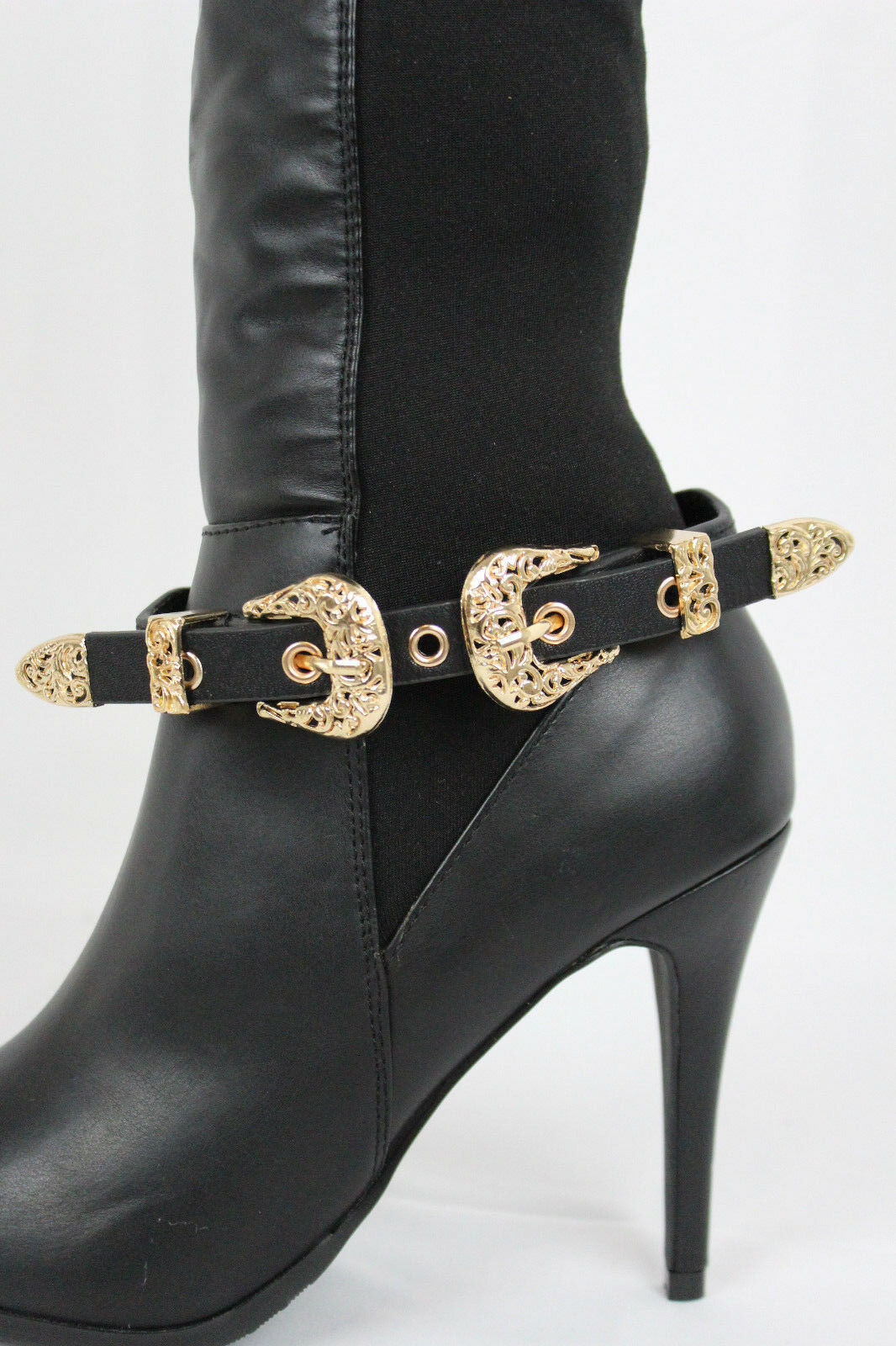 Women Gold Metal Belt Buckle Boot Bracelet Shoe Black Faux Leather Strap Charms