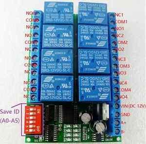 8CH 12V Modbus RTU RS485 Relay Module Switch Board for PLC Lamp