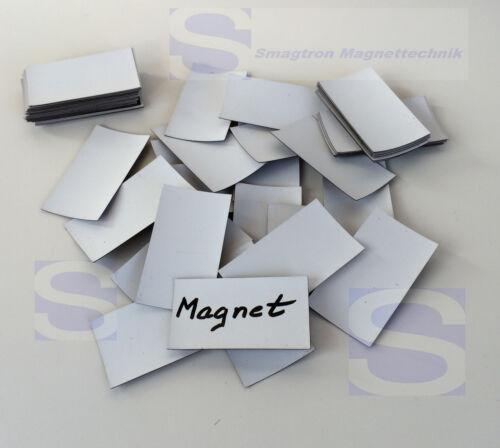 100 x Magnetplättchen beschreibbar 60 x 34 x 0,5mm Etiketten Magnetfolie
