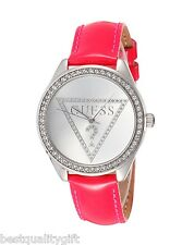 GUESS HOT PINK LEATHER,CRYSTAL SILVER LOGO DIAL WATCH-W65010L5-NEW