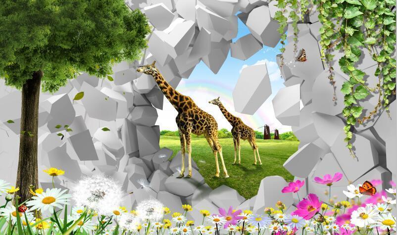 3D Animal Tree Grassland Wallpaper Decal Dercor Home Kid Nursery Mural  Home