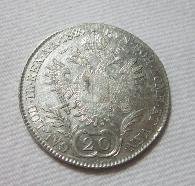 AUSTRIA. SILVER 20 KREUZER, 1829 B. FRANZ II (I).