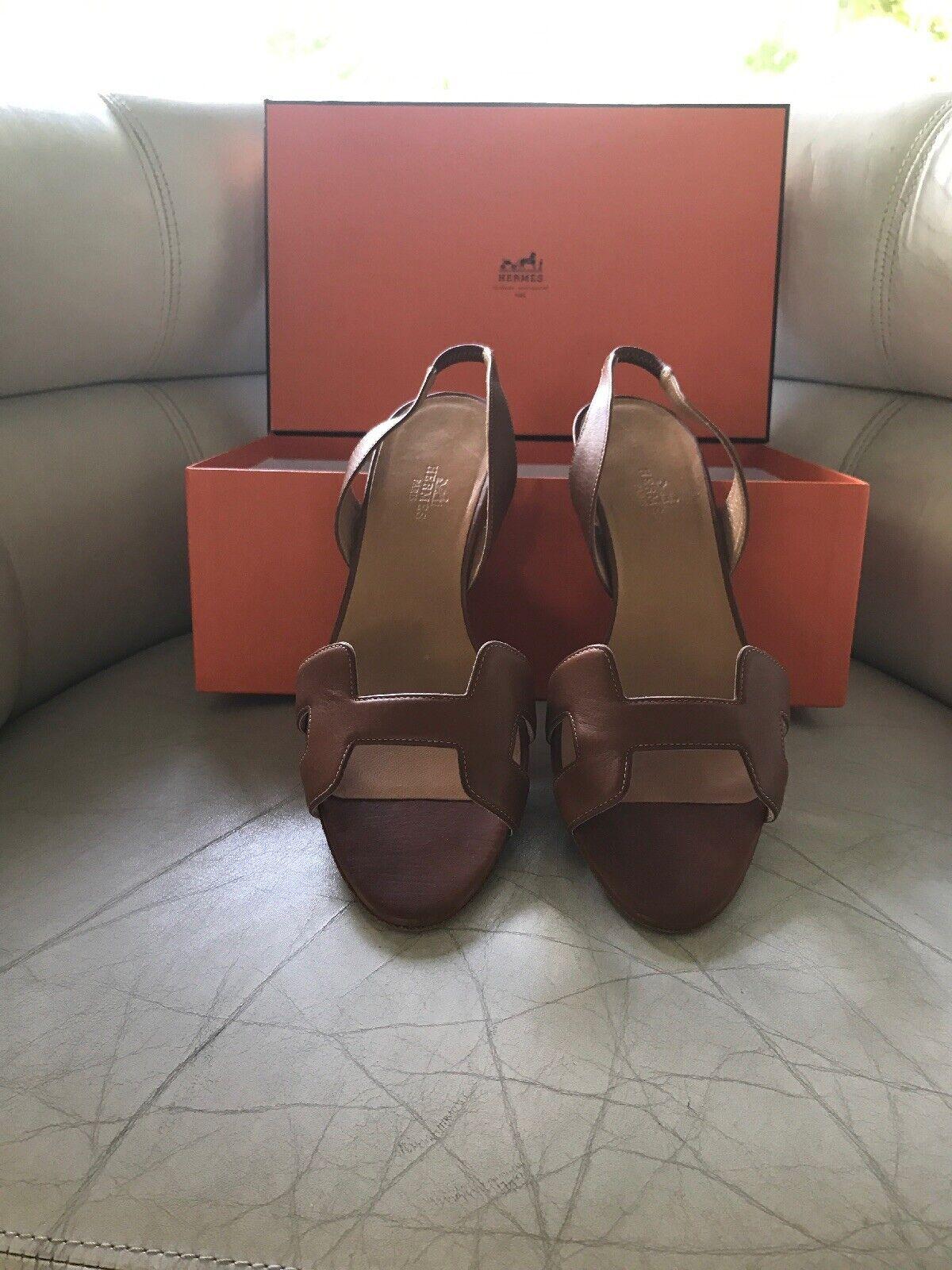 Original  Hermes Paris Schuhe , Gr.38, cognacfarben, wie neu