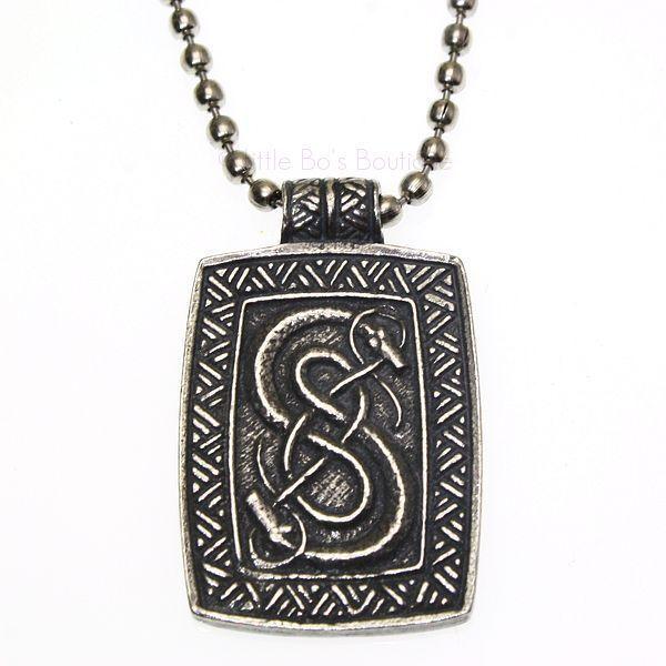New Pewter Loki of Urnes Viking Snakes Carving Pendant Necklace V10