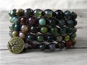Green African Jade Natural Gemstone Beaded Shamballa Wrap Stacking Bracelet