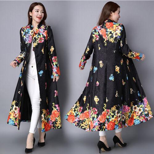 Lange Broderet Frakke Parka Outwear Cardigan England Floral Kvinder Vintage Trench qTwnSIEA