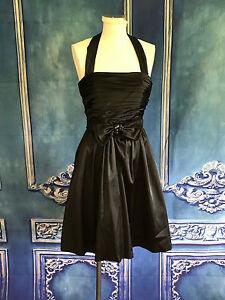 WHBM-Black-Satin-Pin-Up-Halter-Cocktail-Dress-0-XS-Jeweled-Bow-Belt-Holiday