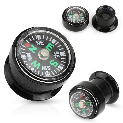PAIR Real Compass Inlaid Black Acrylic Internally Threaded Plugs Gauges Tunnels