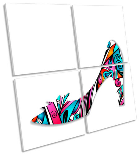 High Heel Shoes Fashion MULTI CANVAS WALL ART Square Print